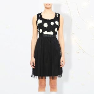 Modcloth black and white stripe tulle floral dress